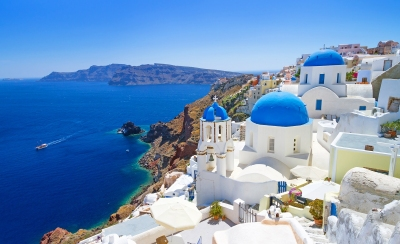 Traumausblick in Oia auf Santorini (Patryk Kosmider / stock.adobe.com)  lizenziertes Stockfoto  License Information available under 'Proof of Image Sources'