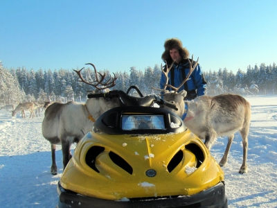 reindeer man feeding the reindeer in Lapland (Heather Sunderland)  [flickr.com]  CC BY  License Information available under 'Proof of Image Sources'